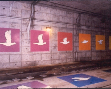 Birds in Flight is a series of painted panels in the downtown St. Louis MetroLink tunnel created by Peter Tao, Helen Lee, Stuart and Stacey Morse in 1997.