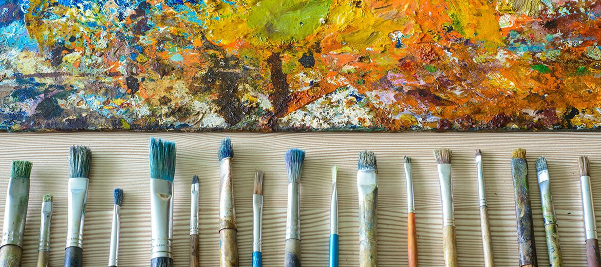 Paint Brushes and Used Palette