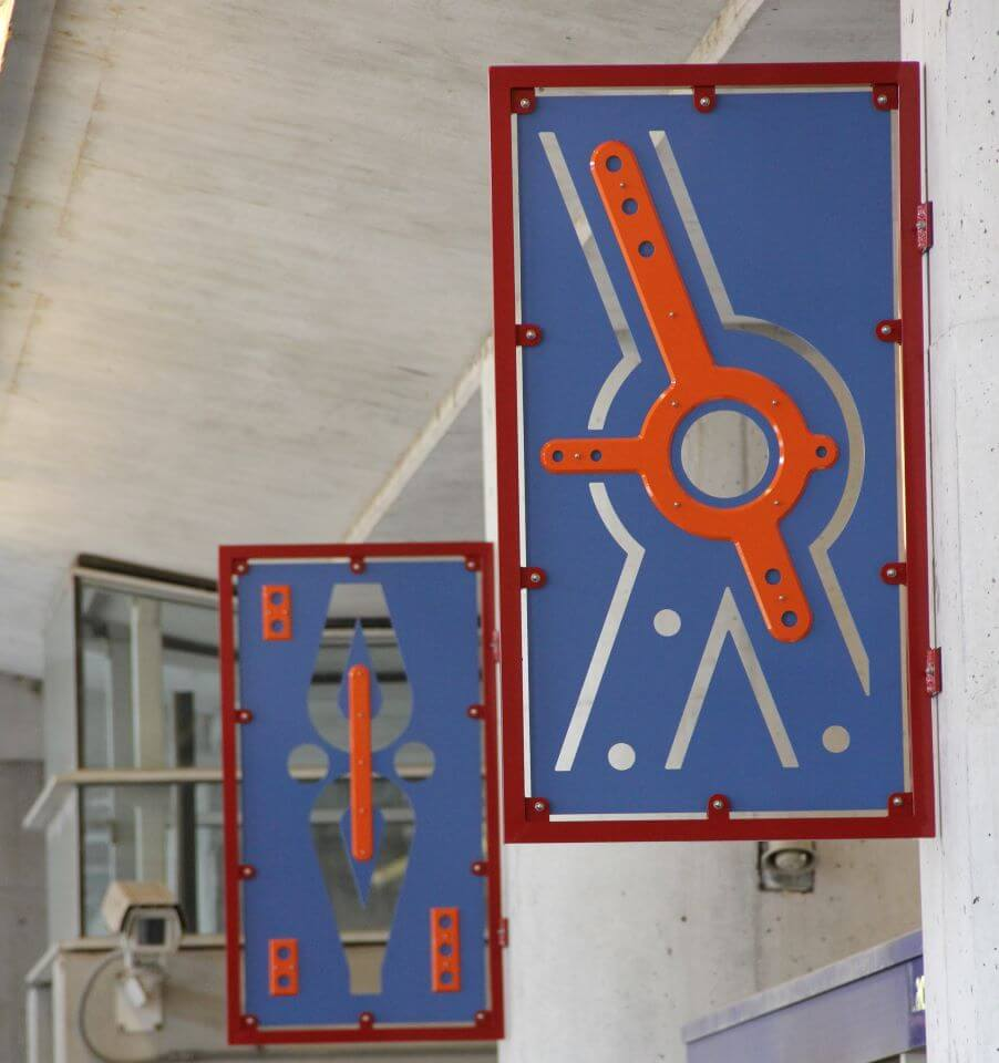 Build is a public art installation by artist Beliz Brother located at Laclede's Landing MetroLink Station. The series of colorful aluminum panels were inspired by details in the architectural drawings used to construct the Eads bridge.