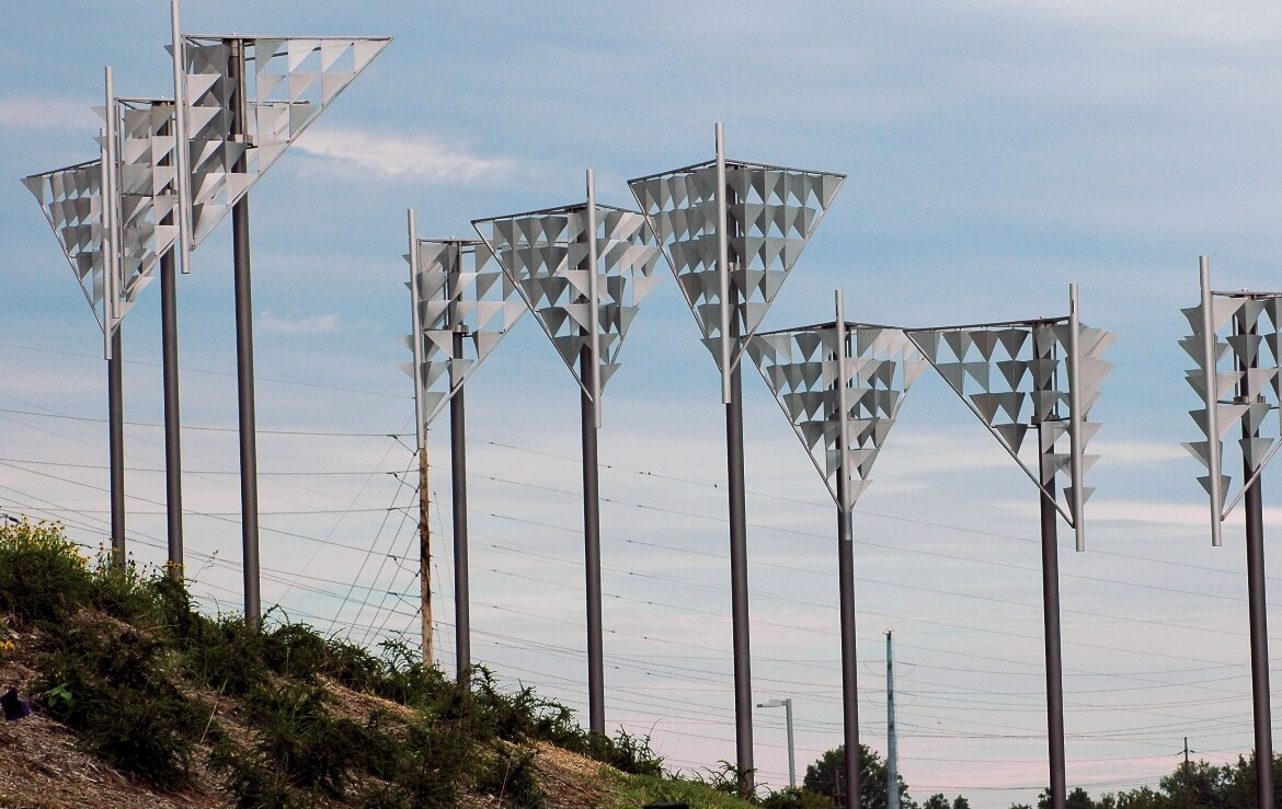 Aquilone is a series of kinetic public art sculptures created by artist Doug Hollis and installed the Shrewsbury Landsdown I-44 MetroLink station. The nine sculptures move and flutter in the wind.